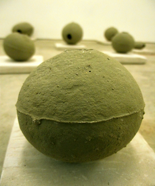 How to make a river speak? detail Caroline Inckle 2013 Natural clay and chalk powder.