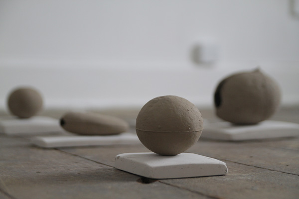 How to make a river speak? Detail Caroline Inckle 2013 Cast stones in natural clay, chalk plinths and chalk hammers.