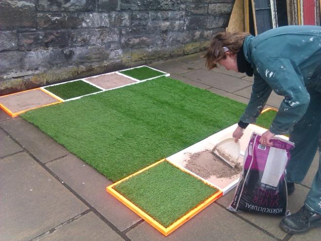 Installing work for the Hidden Door Festival March 2014 on Market street in Edinburgh.